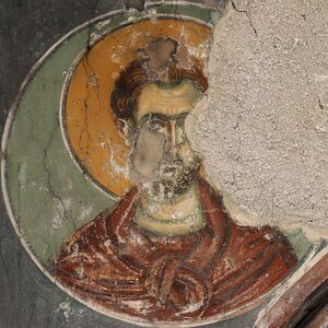 An unidentified saint in medallion