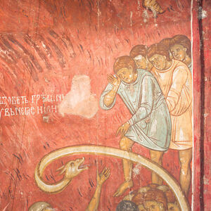 219 Hell: Angel Pushing the Sinners into the Fiery River and Rich Lazarus; Personification of Hades with the Sinners