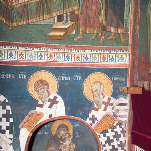 29,30 Officiating Church Fathers: St. Spyridon (left) and St. Polycarp (right)