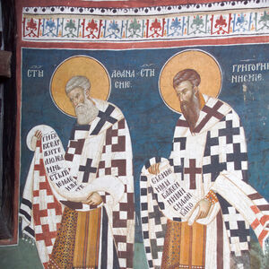 23,24 Officiating Church Fathers: St. Athanasius (left) and St. Gregory of Nyssa (right)