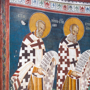 21,20 Officiating Church Fathers: St. Nicholas (left) and St. Gregory the Theologian (right)