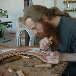 Father Dimitrije carving wood 2