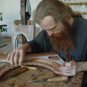 Father Dimitrije carving wood 3