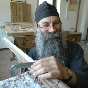 Father Avakum carving wood 1