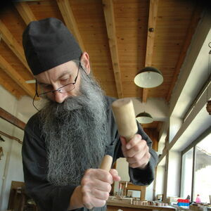 Father Avakum carving wood 4