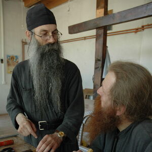 Father Avakum teaching Father Dimitrije wood carving 6