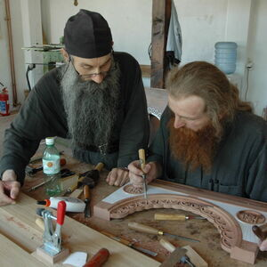 Father Avakum teaching Father Dimitrije wood carving 7