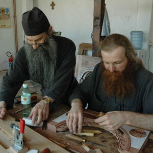Father Avakum teaching Father Dimitrije wood carving 8