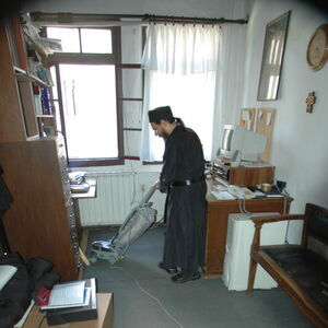 Monk Damaskin doing his daily chores 1