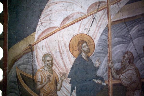 Christ apaisant la tempete, fresque Serbe Orthodoxe