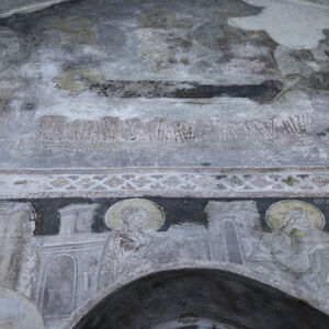 View of the thid and the second register of frescoes of the west wall of the western bay
