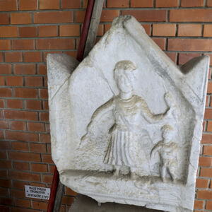 Roman memorial slab with represantation of female figure