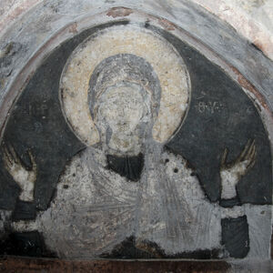 Fresco-icon of Virgin Mary Wider than Heaven