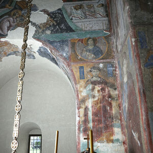 View of the southern wall of area under the dome
