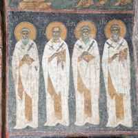 Unidentified bishop, St. Gregory the Wonderworker (Thaumaturgus), St. Iriney and St. Clement