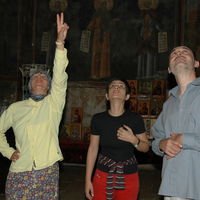 Jelena, Goca and Zoran take a look at frescoes in the Narthex