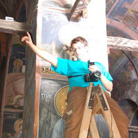 Taking photos inside Patriarchate of Pec