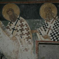 Officiating Church Fathers, detail -St. Sava Serbian and  St. Athanasius the Great
