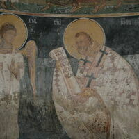 Officiating Church Fathers, detail - St. John Crysostom and angel-deacon
